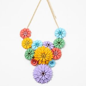Jewelry - RAINBOW CRYSTAL FLOWER STATEMENT NECKLACE